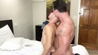 Blonde twink's bubble butt is getting filled with firm cock from behind