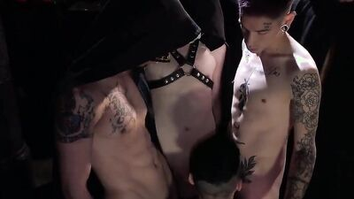 BDSM gay sex party with a lot of twink fellows