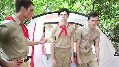 Two scouts and their instructor are fucking in the tent