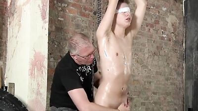 Young Slave is Helpless as his Master Jerks him off